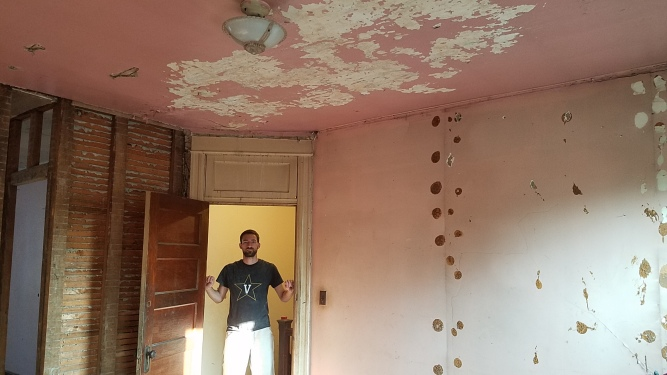 "After: even scarier ""pink"" walls....to be covered shortly with drywall"