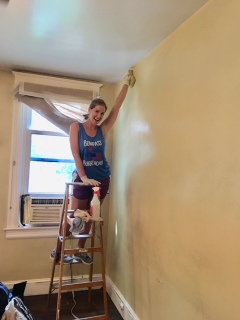 Colleen scrubbed all the walls in the living room with a smile on her face!