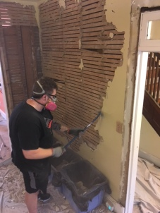 Matt literally smashed this wall to bits in only 2 hours!