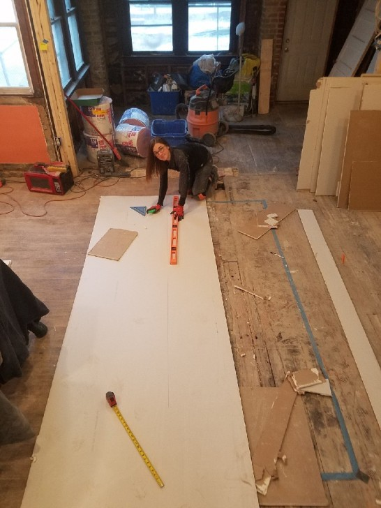 Measuring and cutting the drywall